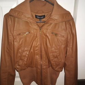 Tan Bomber Jacket - Faux Leather